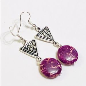TRIBAL Purple Sea Sediment Jasper Earrings